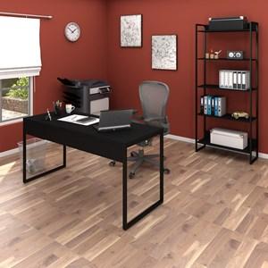 Conjunto Escritório Mesa 150 e Estante Studio Industrial M18 Preto - Mpozenato