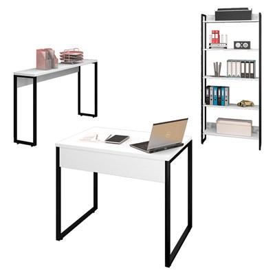 Conjunto Escritório Mesa 90 Aparador e Estante Studio Industrial M18 Branco– Mpozenato