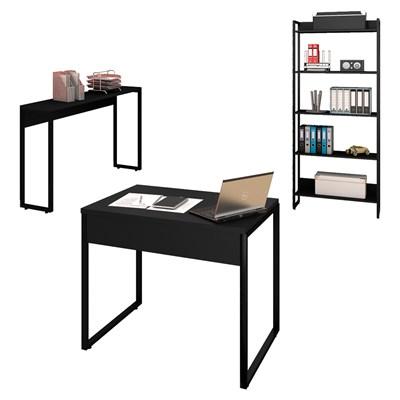 Conjunto Escritório Mesa 90 Aparador e Estante Studio Industrial M18 Preto - Mpozenato