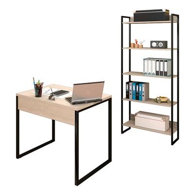 Conjunto Escritório Mesa 90 e Estante Studio Industrial M18 Carvalho Bruma - Mpozenato