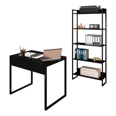Conjunto Escritório Mesa 90 e Estante Studio Industrial M18 Preto - Mpozenato