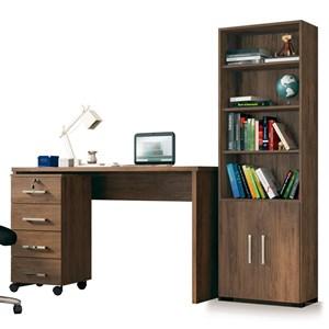 Conjunto Escritório Mesa com Gaveteiro Gávea e Estante Office 2 Portas Avelã - Móveis Leão