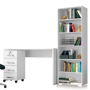 Conjunto Escritório Mesa com Gaveteiro Gávea e Estante Office Branco - Móveis Leão