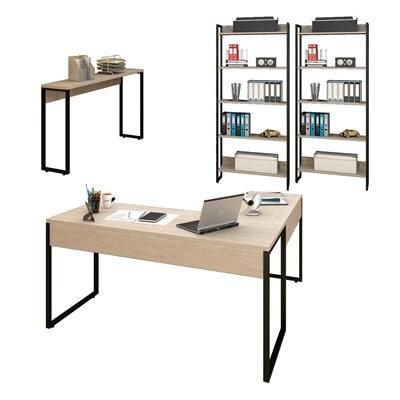 Conjunto Escritório Mesa em L Aparador e 2 Estantes Studio Industrial M18 Carvalho Bruma – Mpozenato