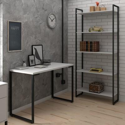 Conjunto Escritório Mesa Escrivaninha 120cm e Estante 5 Prateleiras Estilo Industrial New Port F02 Branco - Mpozenato