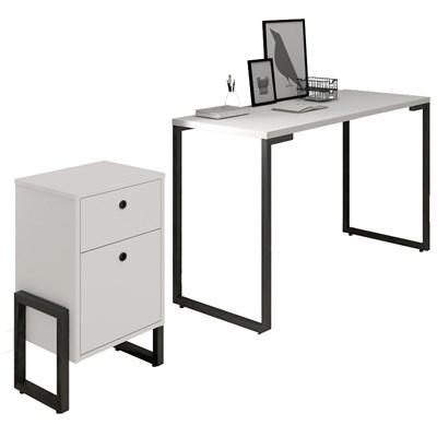 Conjunto Escritório Mesa Escrivaninha 120cm e Gaveteiro 2 Gavetas Estilo Industrial New Port F02 Branco - Mpozenato