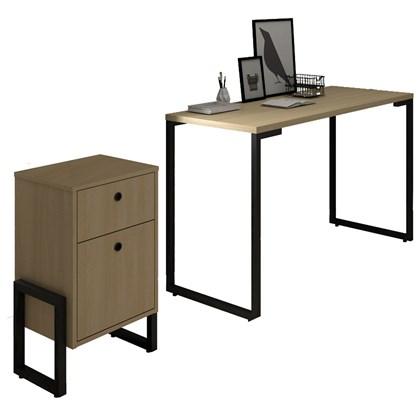 Conjunto Escritório Mesa Escrivaninha 120cm e Gaveteiro 2 Gavetas Estilo Industrial New Port F02 Nature - Mpozenato