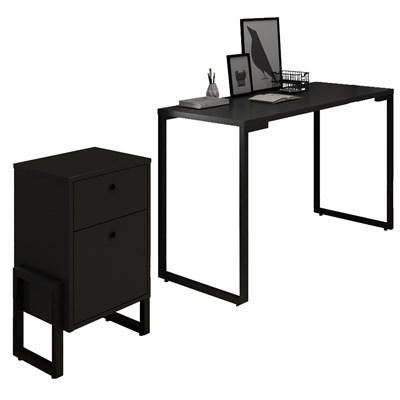 Conjunto Escritório Mesa Escrivaninha 120cm e Gaveteiro 2 Gavetas Estilo Industrial New Port F02 Preto - Mpozenato