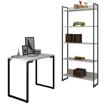Conjunto Escritório Mesa Escrivaninha 90cm e Estante 5 Prateleiras Estilo Industrial New Port F02 Branco - Mpozenato