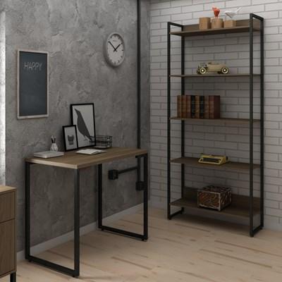 Conjunto Escritório Mesa Escrivaninha 90cm e Estante 5 Prateleiras Estilo Industrial New Port F02 Castanho - Mpozenato