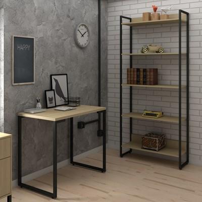 Conjunto Escritório Mesa Escrivaninha 90cm e Estante 5 Prateleiras Estilo Industrial New Port F02 Nature - Mpozenato