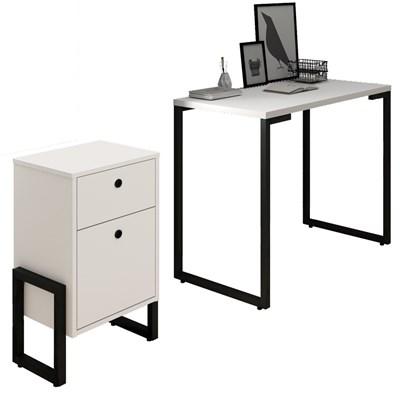 Conjunto Escritório Mesa Escrivaninha 90cm e Gaveteiro 2 Gavetas New Port F02 Branco - Mpozenato
