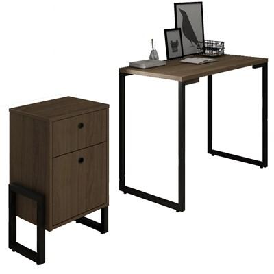 Conjunto Escritório Mesa Escrivaninha 90cm e Gaveteiro 2 Gavetas New Port F02 Castanho - Mpozenato