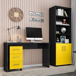 Conjunto Escritório Mesa Gávea Gaveteiro Pietra e Estante Office Preto/Amarelo - Móveis Leão