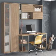 Conjunto Home Office 3 Armários Escrivaninha e Nicho Smart Nogueira - Belaflex