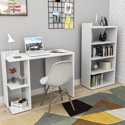 Conjunto Mesa para Escritório ESC 4007com Estante Sense EST 4005 Branco - Appunto