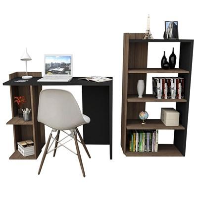 Conjunto Mesa para Escritório ESC4007 e Estante Sense EST4005 Preto/Nogal - Appunto