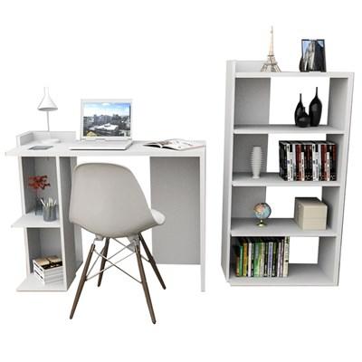 Conjunto Mesa para Escritório ESC4007com Estante Sense EST4005 Branco - Appunto