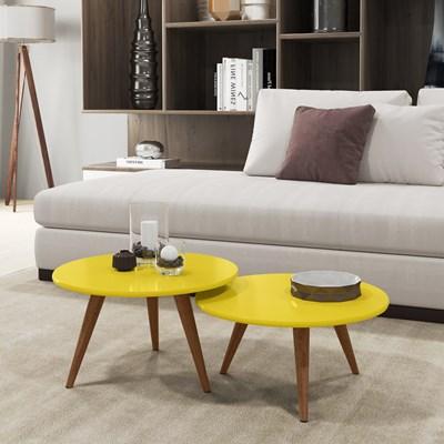 Conjunto Mesas de Centro Pés Palito Sara H03 Amarelo - Mpozenato