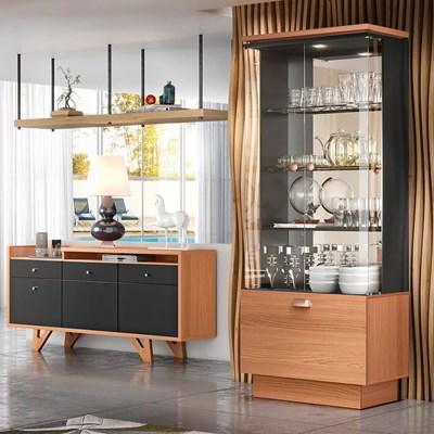 Conjunto Sala de Jantar Cristaleira Aruan e Buffet Ellora H01 Nature/Preto - Mpozenato