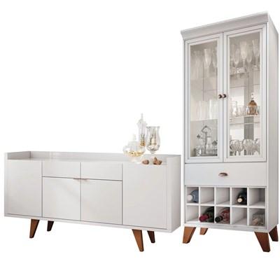 Conjunto Sala de Jantar Cristaleira Ópera e Buffet Melodia Branco - HB Móveis