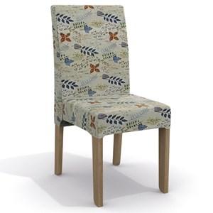 Conjunto Sala de Jantar Mesa Canela e 4 Cadeiras Nogal/Preto/Folhas Coloridas - Kappesberg