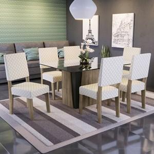Conjunto Sala de Jantar Mesa Melissa e 6 Cadeiras Nogal/Bege Plátano - Kappesberg