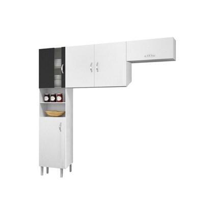 Cozinha Compacta 03 Peças 05 Portas Talita Branco/Preto - MoveMax