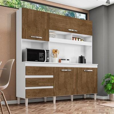 Cozinha Compacta 04 Portas Florença I03 Branco/Malbec - Mpozenato