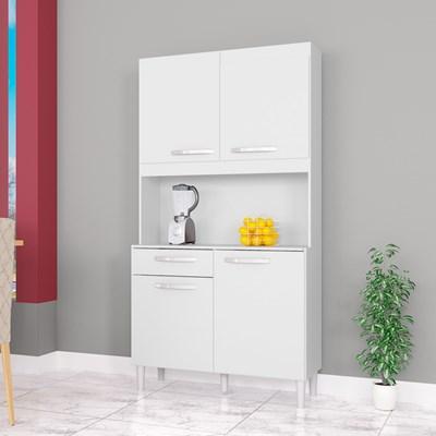 Cozinha Compacta 4 Portas 1 Gaveta Carine Branco - Poquema
