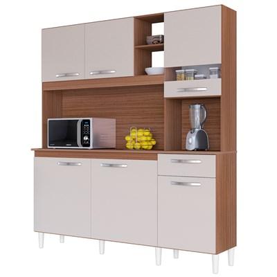 Cozinha Compacta 6 Portas 1 Gaveta Bárbara Capuccino/Off White - Poquema