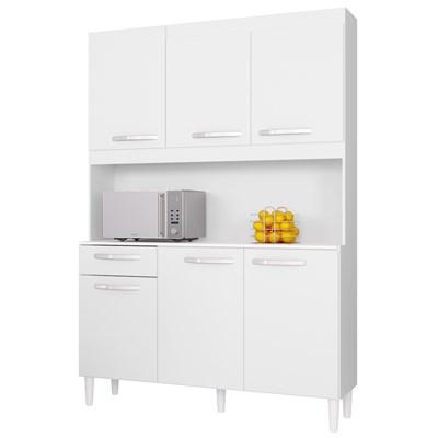 Cozinha Compacta 6 Portas 1 Gaveta Carine Branco - Poquema