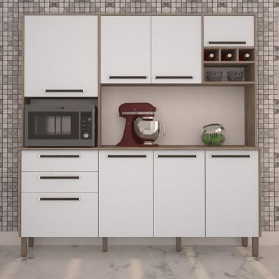 Cozinha Compacta Agata 8 Portas Nogal/Branco - Kit's Paraná