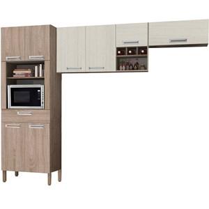 Cozinha Compacta Ametista 8 Portas Composição 1 Nogal/Arena - Kit's Paraná