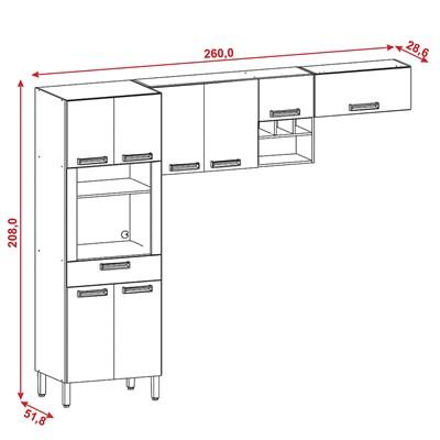 Cozinha Compacta Ametista 8 Portas Composição 1 Nogal/Branco - Kit's Paraná