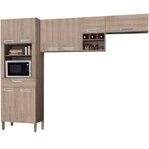 Cozinha Compacta Ametista 8 Portas Composição 1 Nogal - Kit's Paraná