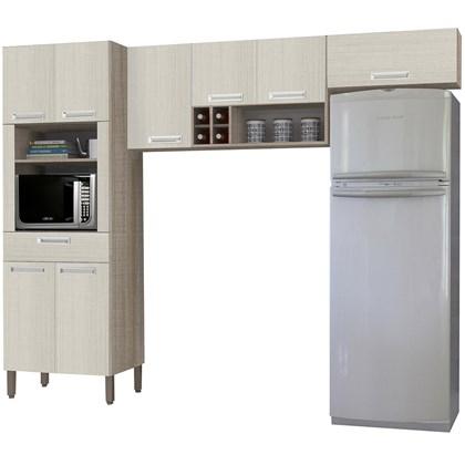 Cozinha Compacta Ametista 8 Portas Composição 2 Nogal/Arena - Kit's Paraná