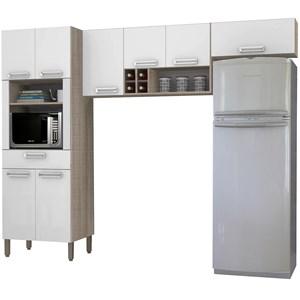 Cozinha Compacta Ametista 8 Portas Composição 2 Nogal/Branco - Kit's Paraná
