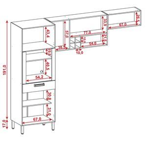 Cozinha Compacta Ametista 8 Portas Composição 2 Nogal - Kit's Paraná