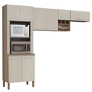Cozinha Compacta Ametista 8 Portas Composição 3 Nogal/Arena - Kit's Paraná