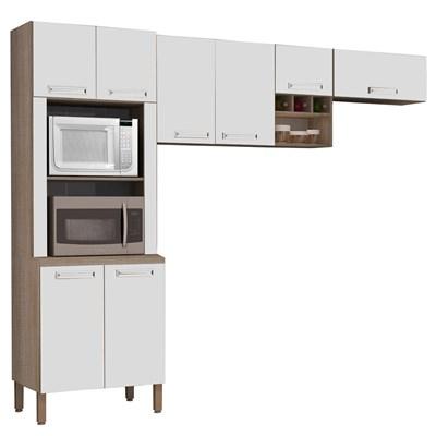 Cozinha Compacta Ametista 8 Portas Composição 3 Nogal/Branco - Kit's Paraná
