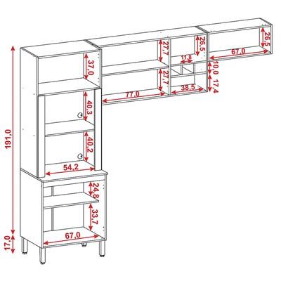 Cozinha Compacta Ametista 8 Portas Composição 3 Nogal - Kit's Paraná