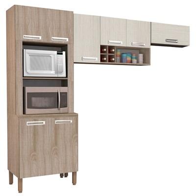 Cozinha Compacta Ametista 8 Portas Composição 4 Nogal/Arena - Kit's Paraná