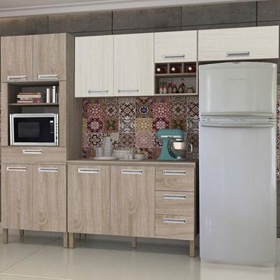 Cozinha Compacta Ametista com Balcão 10 Portas Composição 5 Nogal/Arena - Kit's Paraná