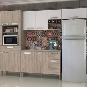 Cozinha Compacta Ametista com Balcão 10 Portas Composição 5 Nogal/Branco - Kit's Paraná