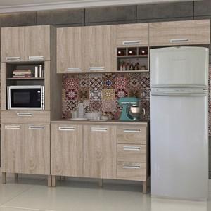 Cozinha Compacta Ametista com Balcão 10 Portas Composição 5 Nogal - Kit's Paraná