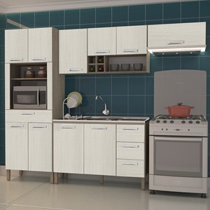 Cozinha Compacta Ametista com Balcão 10 Portas Composição 6 Nogal/Arena - Kit's Paraná