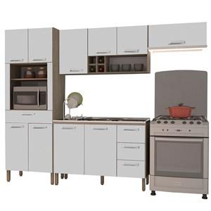 Cozinha Compacta Ametista com Balcão 10 Portas Composição 6 Nogal/Branco - Kit's Paraná