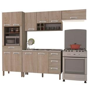 Cozinha Compacta Ametista com Balcão 10 Portas Composição 6 Nogal - Kit's Paraná