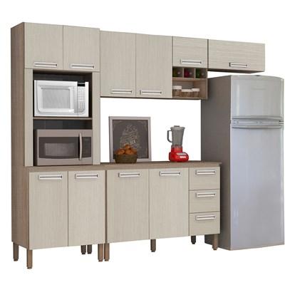 Cozinha Compacta Ametista com Balcão 10 Portas Composição 7 Nogal/Arena - Kit's Paraná